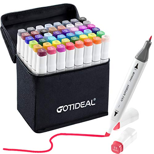 GOTIDEAL 48 Colors Alcohol Markers,Dual Tips Permanent Sketch Markers for Kids, Artist, Adult Coloring and Illustration, Highlighter Art Pens with Travel Case