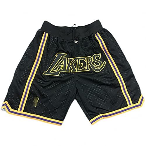 FGHFG Lakers Men's Basketball Shorts Outdoor Ocio Deportes Secado rápido Correr Pantalones Cortos con Bolsillo con Cremallera(Negro,XL)
