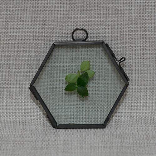 DIAZ Home Decoation Zwart/Koper Antiek Zeshoek Hangend Glas Smeedijzeren Decoratieve Fotolijsten Dubbelzijdig Geschenk, Zwart, 8.8x8.5 CM