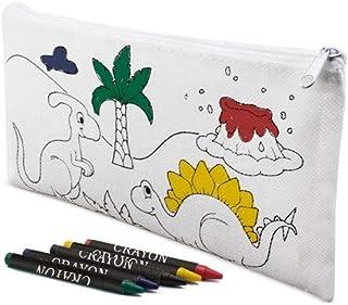 Lote de 30 Estuches para Colorear Infantiles Dinos con 4 Ceras Incluidas - Estuches con Pinturas para Pintar. Estuches Regalos para niños Comuniones, Cumpleaños y Colegios