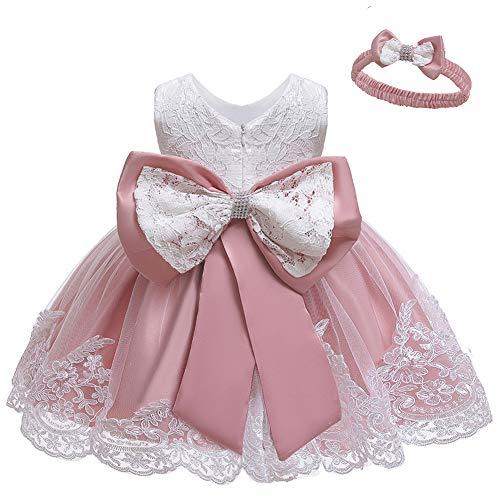 LZH Kleinkind Baby Mädchen Kleid Geburtstag Bowknot Hochzeit Tutu Prinzessin Blume Spitzenkleid, 8348-bean Powder, 13-18Monate