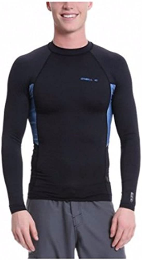 O'Neill Men's Skins Graphiteic Short Sleeve Crew Black/Lunar Rash Guard Shirt MD