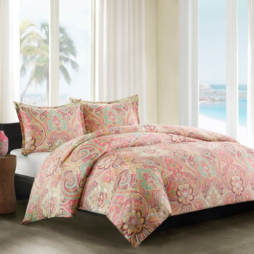 Echo Design Guinevere Duvet Cover Twin Size - Coral, Aqua , Reversibe Floral Damask Duvet Cover Set – 2 Piece – 100% Cotton Sateen Light Weight Bed Comforter Covers