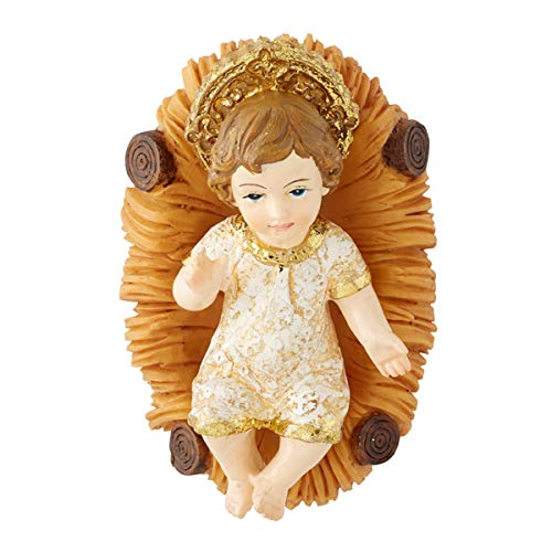 Autom Baby Jesus Christ with Manger Christmas Figurine, 5 Inch