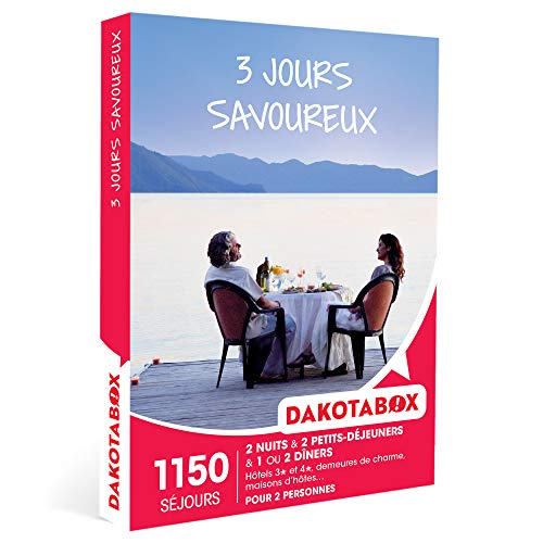 DAKOTABOX - 3 jours savoureux - Coffret Cadeau Séjour Gourmand - 2 nuits avec petits-déjeuners et 1 ou 2 dîners pour 2 personnes
