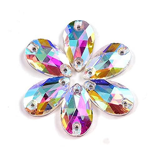 CHUNMA Coser de Cristal en el Cristal de los Diamantes de imitación. AB Muchos Colores Plana Vidrio Piedra Costura Rhinestones Vestido de Novia (Color : 0009, Size : 22x38mm 7pcs)