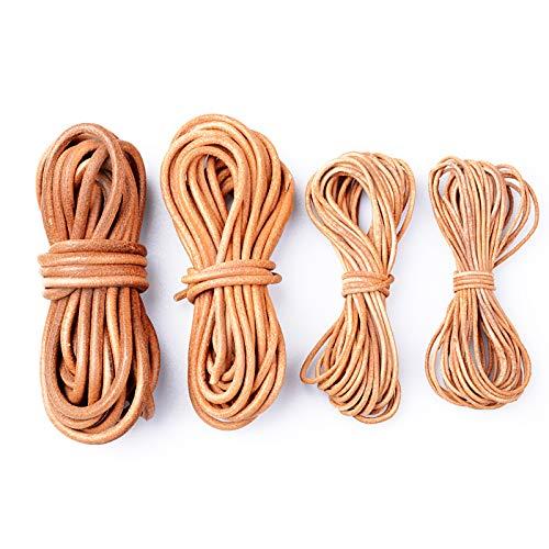 FLOFIA 20Yard Cuerda de Cuero Piel Redonda 1.5mm/2mm/3mm/4mm Cordón Tira Hilo de Cuero para Pulsera Colgante Collares Manualidades Abalorios DIY Bisutería Joyas (4 Anchuras Diferentes, Color Natural)