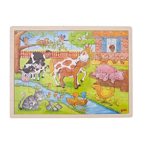 GOKI- Puzzles de maderaPuzzles de maderaGOKIPuzzle, la Vida en la Granja, Multicolor (1)
