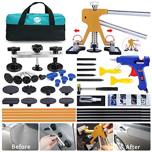 YOOHE Paintless Dent Repair Kit - Car Dent Puller Kit with Adjustable Golden Dent Lifter Puller and Bridge Dent Puller for Car Body Hail Dent Removal Dent Remover Automobile Body Repair