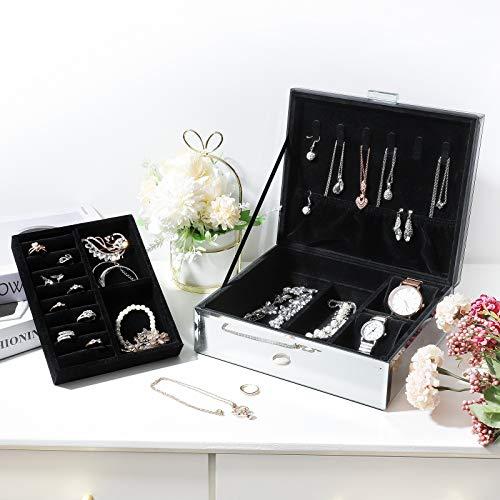Seelux Schmuckkästchen aus Glas, Luxus Sternenhimmel-Serie Schmuckschatulle, Schmuckkoffer für Halsketten, Ringe, Ohrringe, Uhren