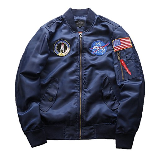CHENM Herren NASA Motiv Stickerei Langarm Stepp Bomberjacke Flug Mantel