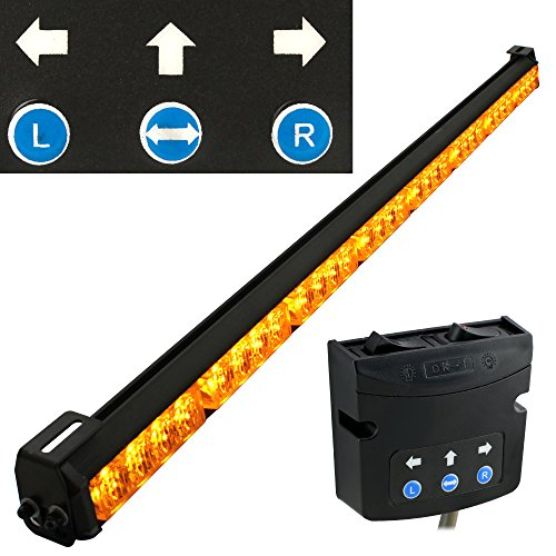 LAMPHUS SolarBlast 36 Amber LED Traffic Advisor Light Bar [SBTA84-AM] [TA Controller] [19 Flash Modes] [IP 67 Waterproof] Directional Yellow Flashing Emergency Safety Light Bar for Trucks Vehicles