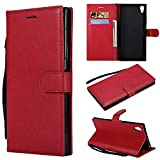 Haiqing Funda de piel sintética de alta calidad con función atril y correa de muñeca compatible con Sony Xperia XA1 Ultra(6.000 pulgadas), color rojo