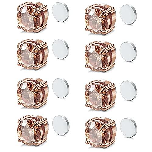 Pendientes magnéticos de acero inoxidable para hombres y mujeres, sin piercing, Circonita cúbica,
