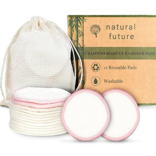 Dischetti Struccanti Lavabili in bambù, Riutilizzabili, Cotone Alta Qualità Panno Struccante Pulizia Viso Occhi Con Sacchetto Per Il Lavaggio 12 Pezzi
