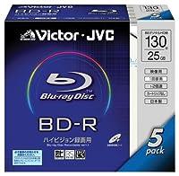 Victor 映像用ブルーレイディスク 1回録画用 130分 25GB 2倍速 5枚 日本製 BV-R130A5