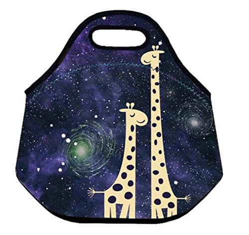 Boys Girls Kids Adults Insulated Neoprene Lunch Bag Tote Handbag lunchbox Food Container Carrying Gourmet Tote Cooler Warm Pouch For Outdoor Travel School Work Office (Starry Sky Giraffe)