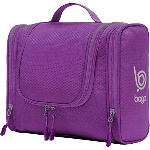 Bago Hanging Toiletry Bag For Women & Men - Leak Proof Travel Bags for Toiletries with Hanging Hook & Inner Organization to Keep Items From Moving - Pack Like a PRO (Purple)