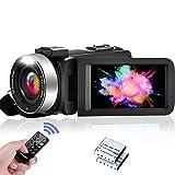 """Caméra Vidéo Caméscope FHD 1080P 30FPS Camescope de Vision Nocturne IR Caméscope 16X Zoom Numérique Vlog pour Youtube, Écran Flip IPS 3.0""""à 270 Degrés avec 2 Piles, Télécommande"""