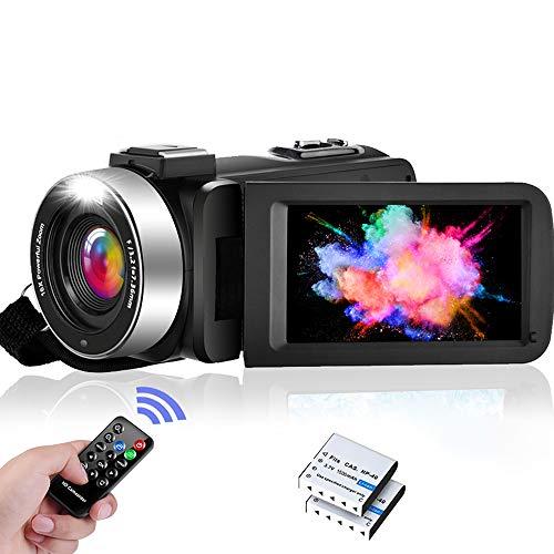 """Videocamara Videocámara FHD 1080P 30FPS Vlogging Cámara IR Visión NocturnaVideocamara con Zoom Digital 16X para Youtube, 3.0""""IPS Pantalla Abatible de 270 Grados con 2 Baterías, Control Remoto"""