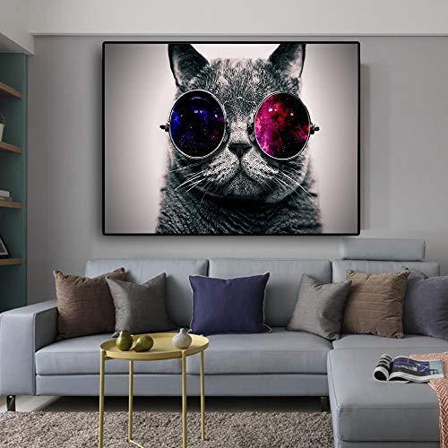 WSNDGWS Canvas Animal Printed Painting Modern Funny Een kat met roken en glazen afbeelding muurkunst poster voor de woonkamer decoratief 20x30cm B1.