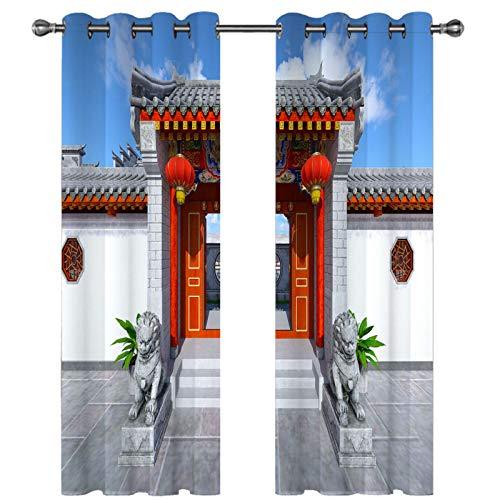 CCBAO Cortina De Decoración del Hogar De Moda Efecto De Simulación 3D Cortinas Gruesas Que Se Pueden Lavar Y Reutilizar Adecuado para Villas, Centros Comerciales, Hoteles, 2 Piezas