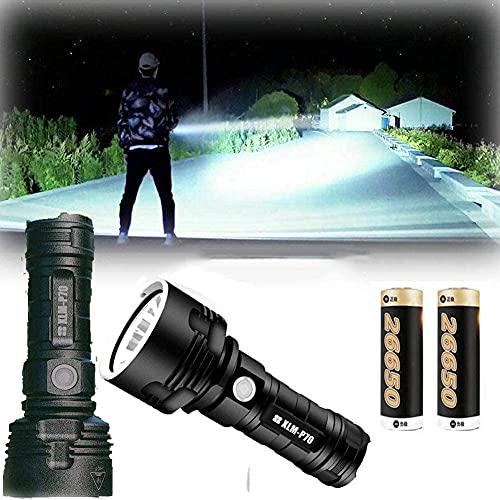 LED Alta Potencia 30000-100000 Lumen Linterna, Carga USB Linternas portátiles, 3 Modos Superbrillantes, Resistente al Agua?para Senderismo, Caza, Camping (50W XLM-P70)