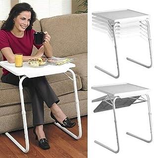 BZN Plastic Pad Steel Tube Bracket Liftable Foldable Portable Multi-purpose Laptop Table, Adjustable Height: 53-74cm, Adju...