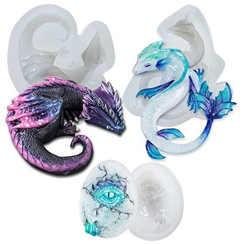 3D Drachen Silikonformen, DIY Backen Fondant Dinosaurierform für Epoxidharz, Schokolade, Tortendeko, Kuchen, Kindergeburtstag, Abschiedsfeier, 3-set, Höhe:6.6-10.4cm