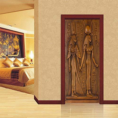 DIOPN Europese stijl retro deur sticker 3D Egyptische sculptuur behang woonkamer keuken PVC waterdicht sticker vinyl deur muurschildering (77 * 200cm)