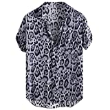 XuanhaFU Camiseta Hombre de Verano,Camisa De Manga Corta con Bolsillo De Leopardo (Negro,M)