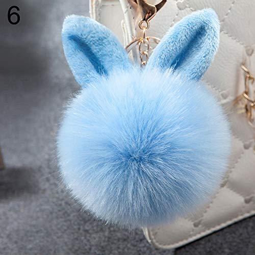 AchidistviQ Handtaschen-Anhänger aus weichem Kaninchenohren mit Kunstfell, Bommelkugel, Handtaschen-Anhänger hellblau
