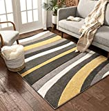 Temptation Waves & Stripes Gold, Grey, Ivory Modern 8x10 8x11 (7'10' x 9'10') Geometric Comfy Casual Hand Carved Area Rug Easy to Clean Stain & Fade Resistant Abstract Contemporary Thick Soft Plush