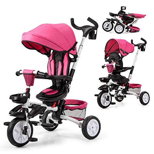 Baby Joy Baby Tricycle, 7-in-1 Kids Folding Steer Stroller w/Rotatable Seat, Adjustable Push Handle & Canopy, Safety Harness, Cup Holder, Storage Bag, Toddler Tricycle Trike for 1-5 Year Old, Pink
