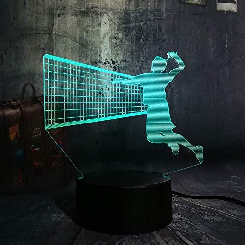 Lámpara De Noche 3D Atmósfera Led, Deporte Jugar Voleibol Novedad Control Remoto Usb 7 Cambio De Color Niño Niño Lava Hogar Bebé Luces De Noche Decoración Decoración Lámpara De Habitación De Niñ
