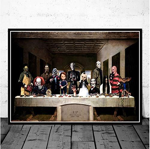 YIGUBIGU berühmte Halloween Horrorfilm Charakter Kunst Malerei Poster Drucke Wandbild Raum Wohnkultur Ohne Rahmen 70 * 50 cm