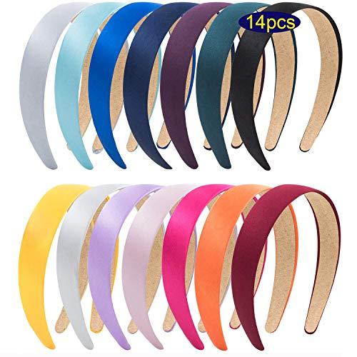 14 colores de diademas de satén anchas, cinta antideslizante para el pelo, accesorios para el pelo para mujeres o niñas o manualidades (mezcla de 14 colores)