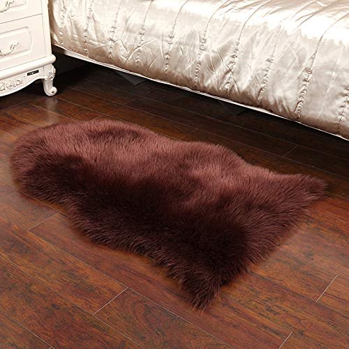 Rahungry Artificial Fur Carpet, Sheepskin Style Carpet Artificial Wool Chair Cover Cushion Soft and Fluffy Carpet Used for Bedroom Sofa Floor,Brown,100 * 65CM