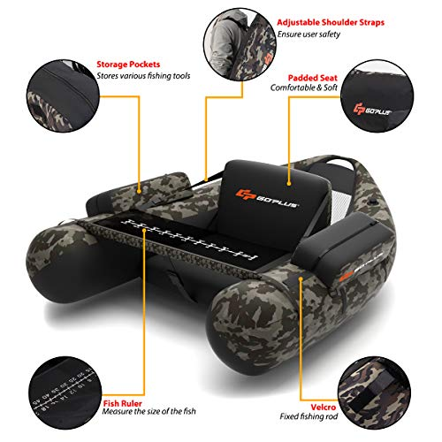 Goplus Inflatable Fishing Float Tube, with Storage Pockets, Fish Ruler, Adjustable Straps, 350LBS Load Bearing Capacity (Camouflage Color)