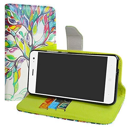 LiuShan Wiko Lenny 5 Hülle, Brieftasche Handyhülle Schutzhülle PU Leder mit Kartenfächer & Standfunktion für Wiko Lenny 5 (5,7 Zoll) Smartphone (mit 4in1 Geschenk verpackt),Love Tree