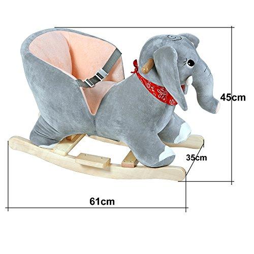 Deuba Schaukelelefant | Schaukeltier Plüsch Schaukel Wippe Pferd Einhorn Kinder Baby Spielzeug | Sound-Geräusche | inkl. Sicherheitsgurt | Balancetraining | besonders weich - 2