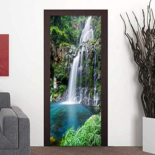 Kesdeze 3D-deursticker, zelfklevend, waterval, landschap, fotobehang, woonkamer, badkamer, decoratie thuis, PVC, waterdicht, zelfklevend, 77 x 200 cm