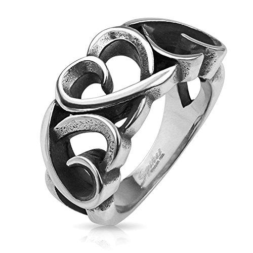 TAPSI S Cool Body Art Unisex Cast Anello in acciaio inox argento 3Cuori Hollow Hearts disponibile anello misure 47(15)–61(19,5), acciaio inossidabile, 47 (15.0), colore: argento, cod. CBAR-Q7810_50