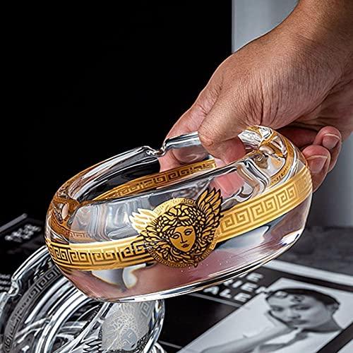 QUETW Cenicero Creative Fashion Cigar Cenicero Cristal de Cristal Pintado Ashtray Office Sala de Estar Muebles Gran cenicero Creatividad (Color : 13cm)