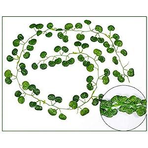 guizhoujiufu Gardening Accessories 2M Long Simulation Plants Green Ivy Leaf Fake Grape Vine Artificial Flower String Foliage Leaves Home Wedding Garden Decoration