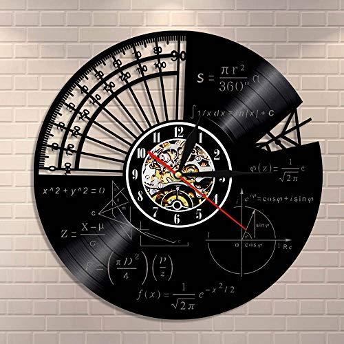 BFMBCHDJ Fórmula matemática Ciencia Aula Arte de Pared Reloj de Pared Friki Gráfica Ecuación matemática Disco de Vinilo Reloj de Pared Idea de Regalo para Maestros de matemáticas