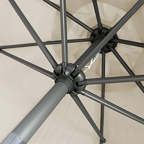 Greenbay - Ombrellone rotondo da 2,7 m, parasole inclinabile, per giardino, patio, estate, campeggio, colore: panna