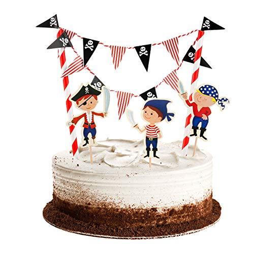 Tortendeko Pirat kuchen deko Geburtstag Junge,Tortenaufleger Wimpelkette Girlande Cupcake Topper Tortenstecker Tortenaufsatz Zahnstocher für 1.2.3.4.5. Jahre Baby Kinder Jungen Jungs Party Dekoration