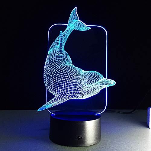 Diashow führte Nachtlichtspeziesfarbdelphinlampentabellen-Neuheitsprodukt mit Notenknopfweihnachtslichtkindernachtlicht