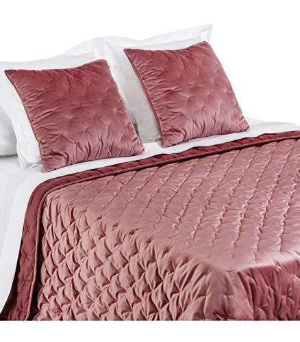 Wadiga sprei voor bed, velours, 235 x 260 cm, oudroze